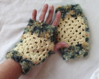 Crochet Fingerless Gloves, Texting Wrist Warmers, Green Yellow, Mori Girl, Upcycled Granny Squares
