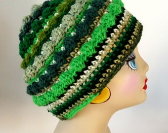 Crochet Hat, Green Hat, Handmade Cap, Ecofriendly Hat, St Patricks Day Hat, Luck, Adult, Teen, Tam, Chemo
