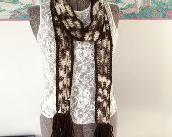 Soft Crochet Scarf, Brown Scarf, Cream Scarf, Chocolate Cookie Cream, Lightweight, Skinny Abstract Print, Year Round Accessory