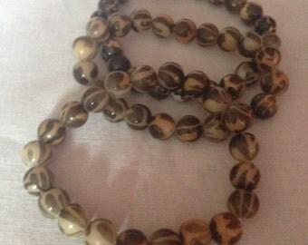 Set of 3 print bead bracelets