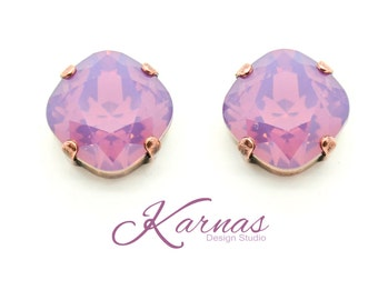CYCLAMEN OPAL 12mm Crystal Cushion Cut Stud Earrings Swarovski Elements *Pick Your Finish *Karnas Design Studio *Free Shipping*