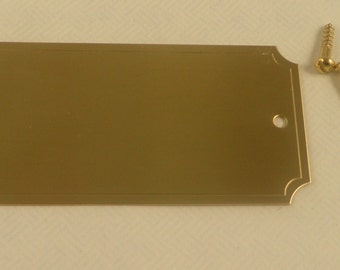 Name Plate Brass, 1-1/4 x 2-1/2,  with holes and screws Satin Gold or Silver Satin,  Notched Corners Free Engraving,