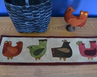 Primitive Wool Penny Rug e-Pattern Wool Bird Pin Keeper Wool Runner Birds *NEW*