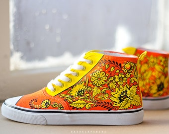 Hand painted Women Russian Style, present Canvas Shoes, Sneakers:  Hohloma