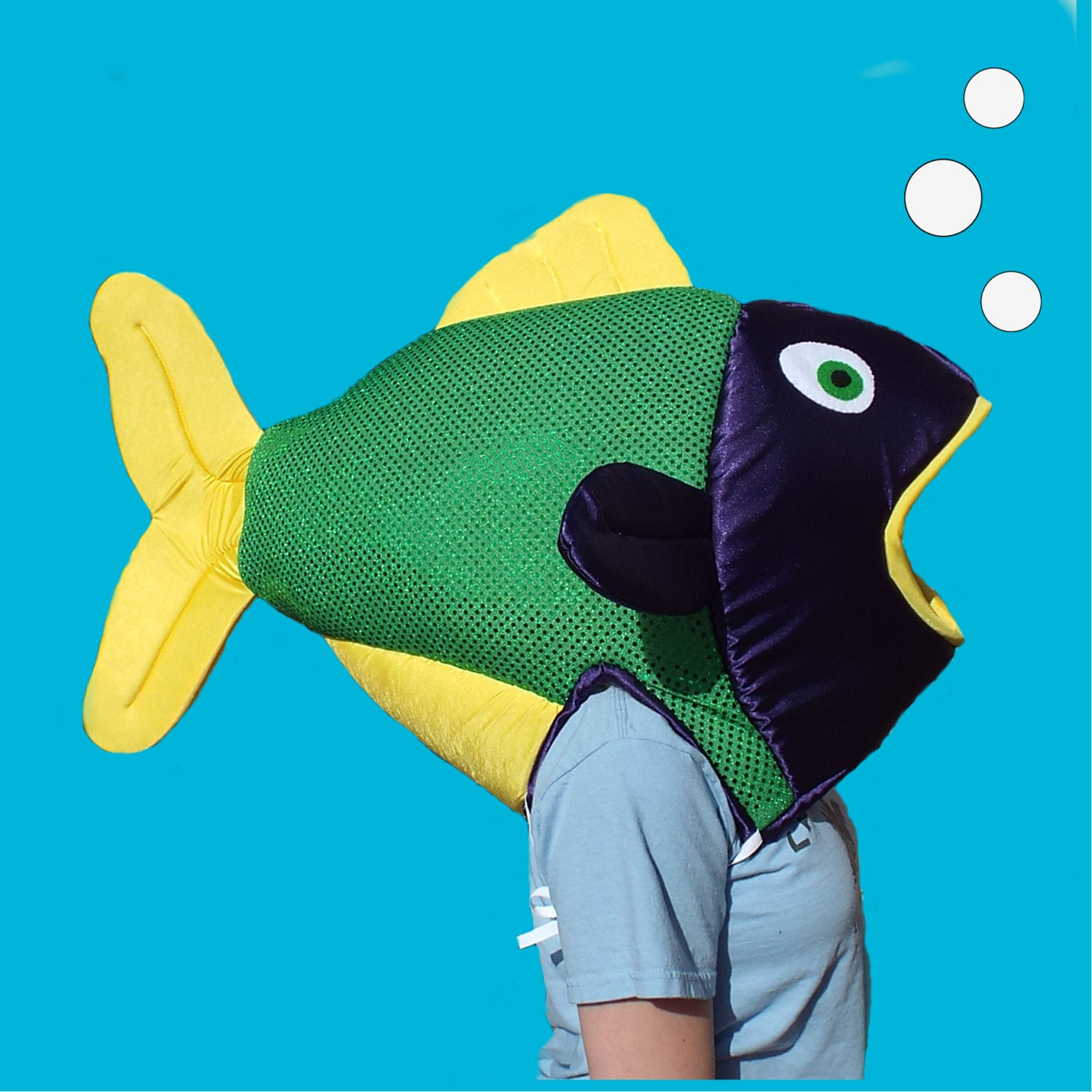 Mardi gras fish costume fits adult or child satin covered for Fish head costume