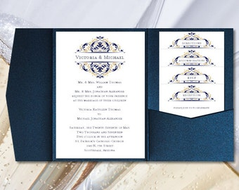 """DIY Pocketfold Wedding Invitations """"Grace"""" Navy Blue & Champagne Gold Printable Word Templates Instant Download Order 1 or 2 Colors U Print"""