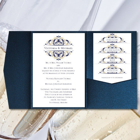 Diy pocketfold wedding invitations grace navy blue diy pocketfold wedding invitations grace navy blue champagne gold printable word templates instant download order 1 or 2 colors u print solutioingenieria Gallery
