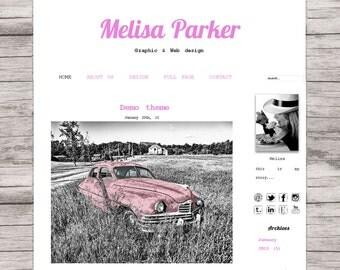 Red premade template wordpress, square blog design, retro style, Melisa Parker