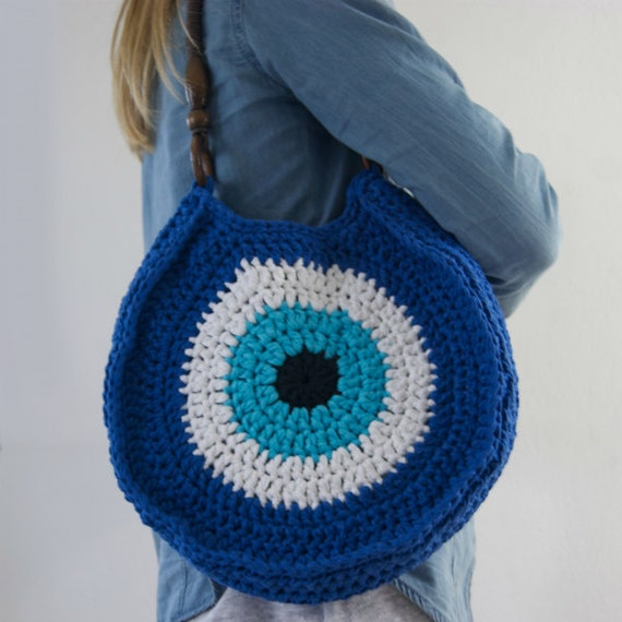 Crocheted evil eye bag Blue Handbag by Soulmadehome on Etsy