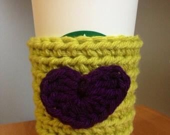 Clearance! Crochet/Knit Coffee Sleeve/Cozy in Lime Green w/ Purple Heart