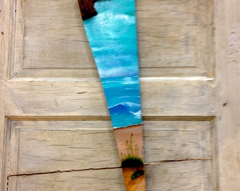 Hand Painted Beach Hand Saw
