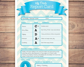 Personalised Dad Report Card