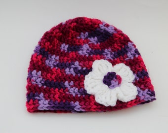 Pink & Purple Beanie - Pink and Purple Flower Hat - Pink and Purple Hat