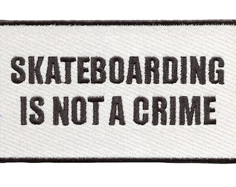 Awesome Vintage Style 80's Skateboarding is Not a Crime Patch Badge Skater Hat