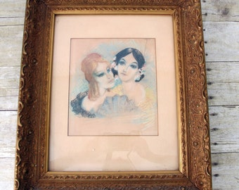Vintage Pastel Chalk Drawing of Two Classy and Beautiful Boudoir Women