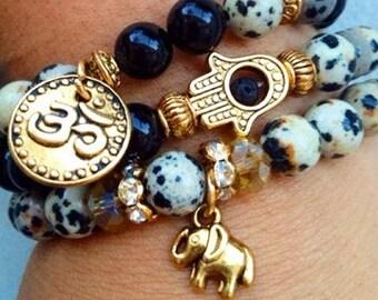 ΔΔΔ OM, Elephant & Hamsa Bracelet Set ΔΔΔ