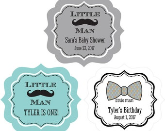 1st Birthday Decorations - Mustache Favor Stickers for Baby Shower - Little Man Birthday Party (EB3020BZ) set of 24| labels