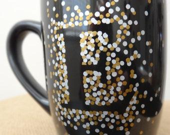 Personalized Dotted Black Mug