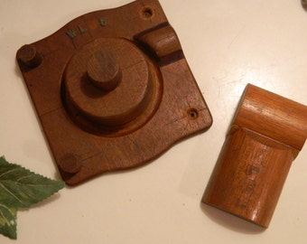Set of 2 Vintage Industrial Foundry Wood Molds Steampunk