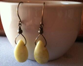 Dangle Light Yellow Magnesite Earrings
