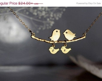 Mothers Necklace, Parents And Kids Necklace, Bird And Baby Birds Necklace,  Love Birds