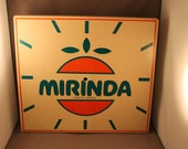 Very Rare and Spectacular 70s Pop Art Object Wall Decoration MIRINDA Plate Original 1970s Advertisement Space Age Wall Clock Shell