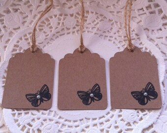 20 Vintage Style Butterfly Stamped Kraft Card Tags