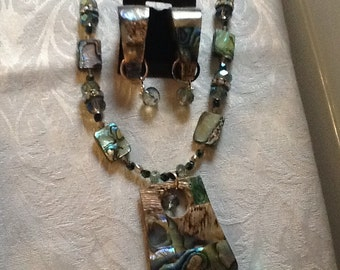 Abalone Necklace, and Matching Earring Set