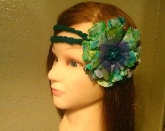 tie dye flower signature crochet headband
