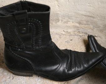 SALES 40% mid-calf booties rocker boots santiag  zip up black leather with overstitches wooden stacked heel