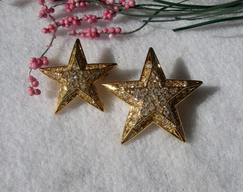 Vintage Joan Rivers Jewelry Gold Rhinestone Stacked 3D Star Brooches