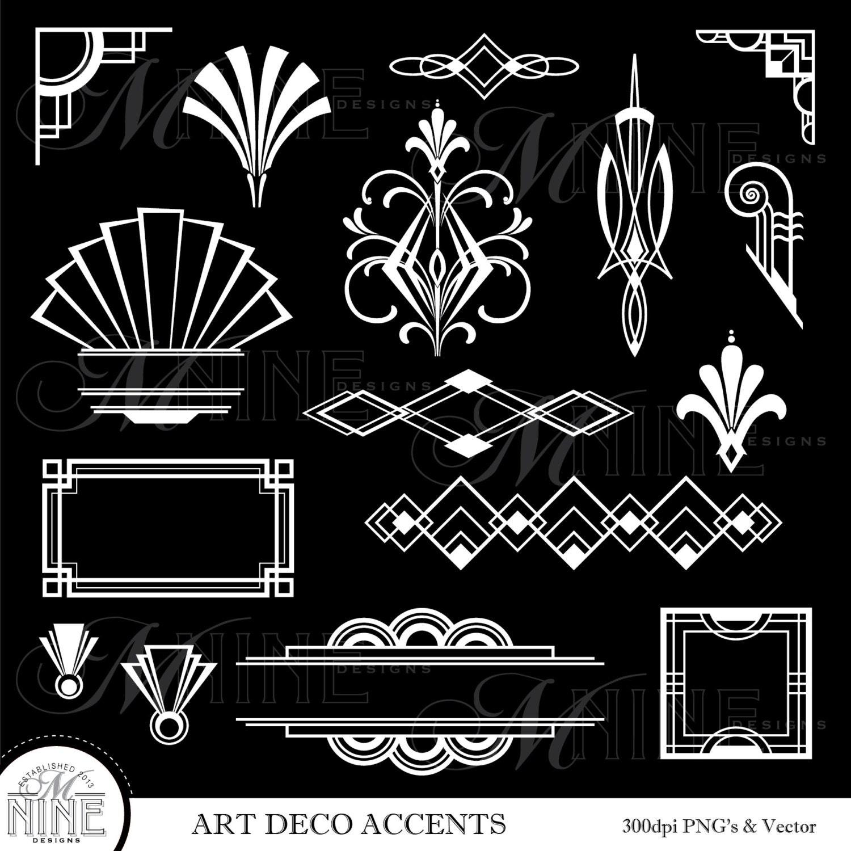 Art deco clip art white art deco accents digital for Deco graphic