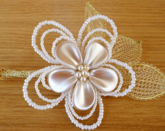 Pearl Flower Corsage Brooch, wedding accessory