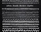 White Doodle Borders Clipart, Strings Clipart, String borders clip art, Digital borders, PNG, EPS, AI (vector), Personal and Commercial use