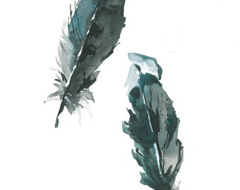 "Feathers Watercolor 8""x10"""