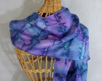 "Hand Painted Silk Scarf ""Blue-Violet Blend II"""