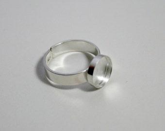 10mm round bezel 925 sterling silver adjustable ring base