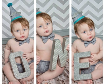 "Silver Glitter ONE-1st birthday-8in glitter letters-1st birthday photo prop-""ONE"""