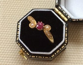 Antique Ruby & Split Pearl Gold Ring