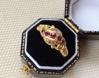 Antique Ruby & Diamond Crossover Gold Ring