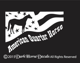 American Quarter Horse Stars and Stripes- Vinyl Vehicle or Trailer Decal - Indoor/Outdoor Sticker
