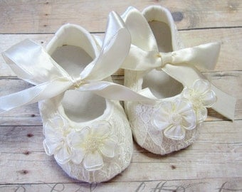 Ivory Baby Girl Shoes,Crib Shoes