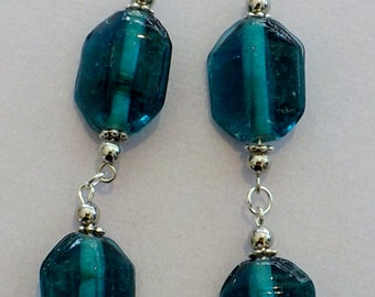 Teal glass bead and silver dangle earrings