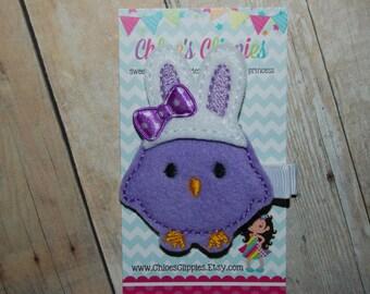 Easter Hair Clip - Easter Chick Hair Clip - Purple Felt Chick Clip - Felt Purple Easter Bunny Hair Bow - Easter Basket Filler for Girls