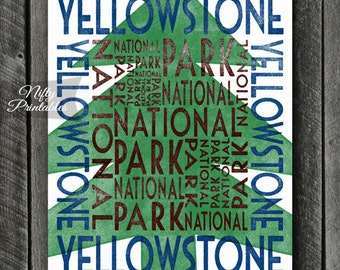 Yellowstone National Park Art Print - PRINTABLE Yellowstone National Park Art - Vintage Yellowstone National Park Poster - Park Typography