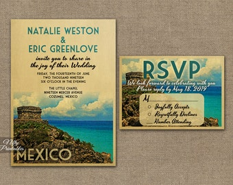 Mexico Wedding Invitation - Printable Vintage Tulum Mexico Wedding Invites - Tulum Mexican Destination Wedding Set or Solo VTW