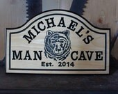 Hand Carved Large Wood Custom Personalized Bar Sign man cave sign Bear