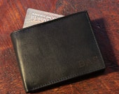 Monogrammed Mens Bifold Leather Wallet Personalized Engraved Groomsmen gift Wallet Best Man Mens Leather Wallet