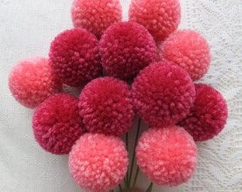 Pink Ombre Yarn Pom Pom Flowers: Set of 12