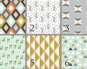 Tribal Feather (Baby Bedding) Gold Mint Arrow Premium Crib Bedding. Choose your Design.